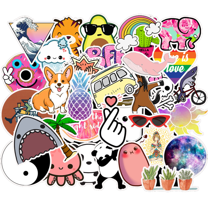 50pcs Fashion Style Animal Graffiti Computer Stickers Waterproof Refrigerator Decoration Mixed Decals For Samsung Laptop Sticker