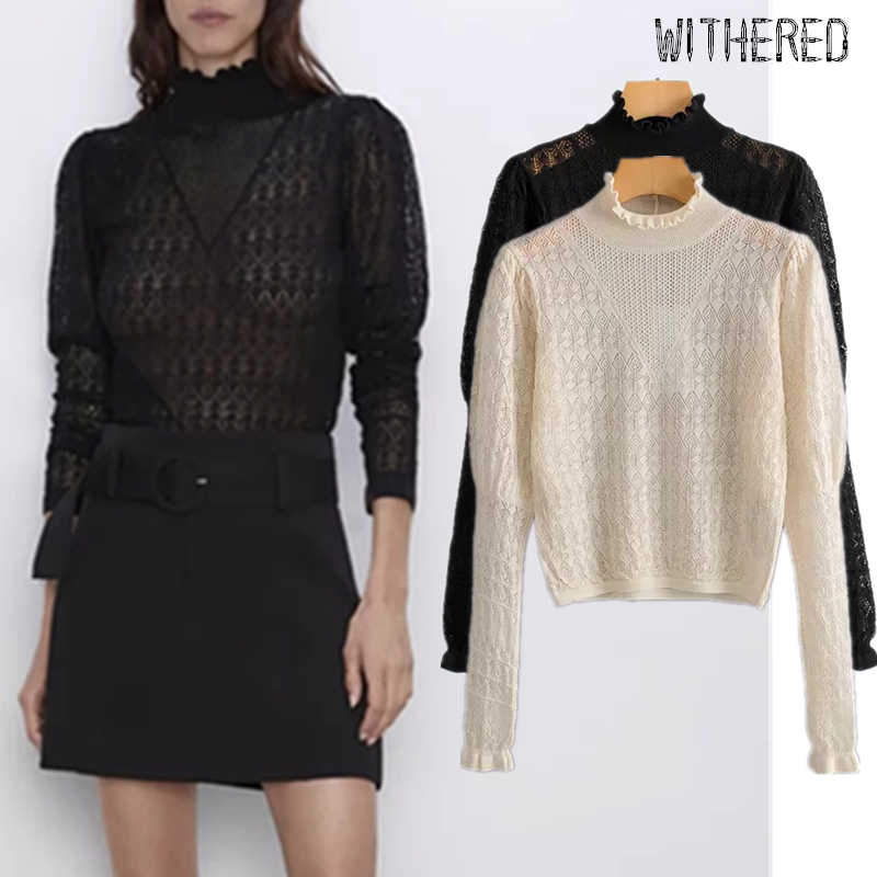 Withered 2019 Autumn Sweaters Women England Office Lady Simple Hollow Out Lace Sexy Basic Knitted Sweaters Women Pullovers Tops