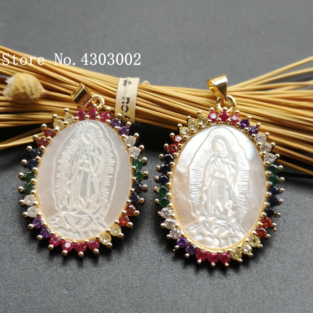 10pcs/lot Micro Pave AAA CZ Natural Virgin of Guadalupe Mother of  Pearl Shell Pendant Guadalupe Pearl Shell MOP Charms for giftPendant  Necklaces