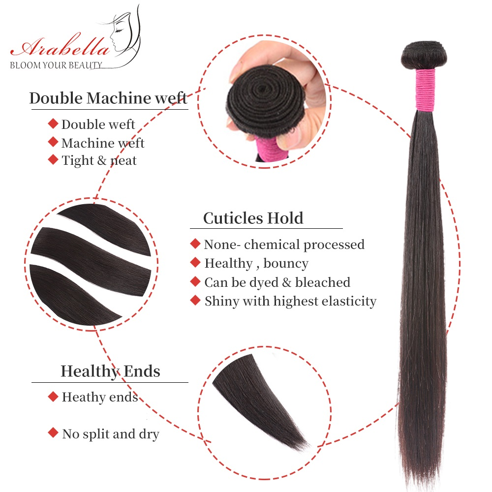 Bundles With Frontal  Straight Hair 100%  Bundles Arabella Pre Plucked Lace Frontal With Bundles 4