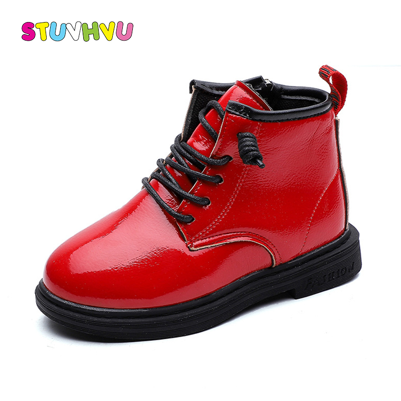 Fashion Children's Martin Boots Red Black Leather Girls Shoes Non-slip Autumn Winter Kids Ankle Boots Boys And Girls Boots Shoes