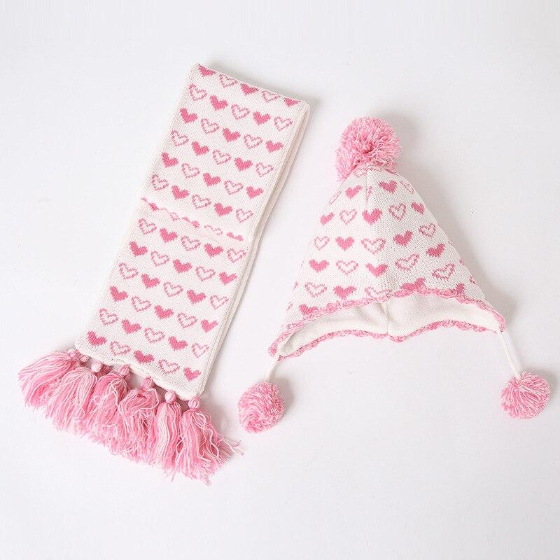 Girl Hat Scarf Set Winter Earflap Beanie Fleece Warm Knit Kid Acrylic Autumn Pompon Skiing Outdoor Baby Accessory