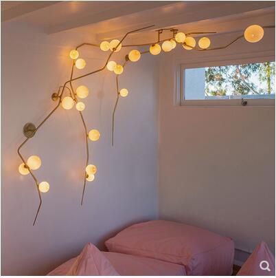 Nordique ins branche plafonnier Zen villa lampe créative moléculaire en fer forgé verre salon magique haricot lustre led