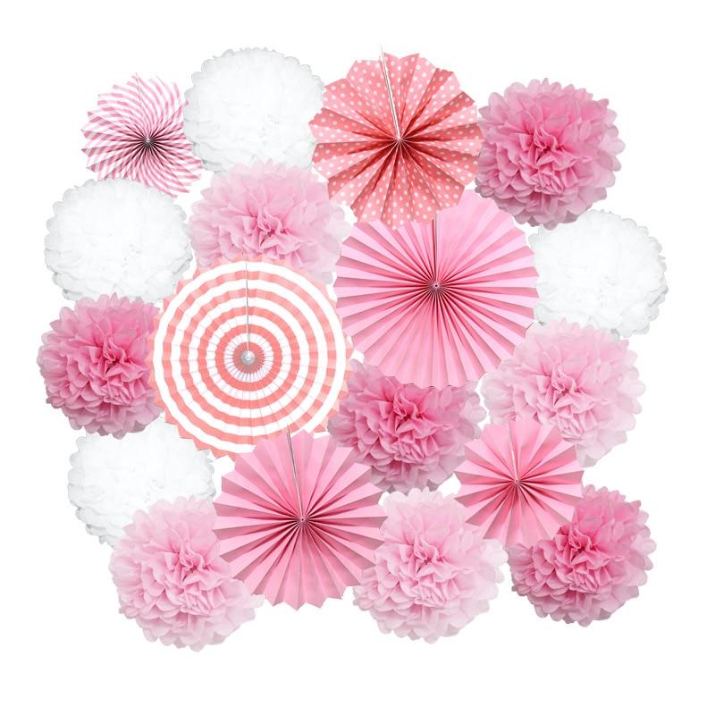 18pcs/Set Pink Paper Fan Flower Hanging Paper Crafts Kids Favor Paper Pompom Wedding Birthday Party Girl Boy Baptism Decorations