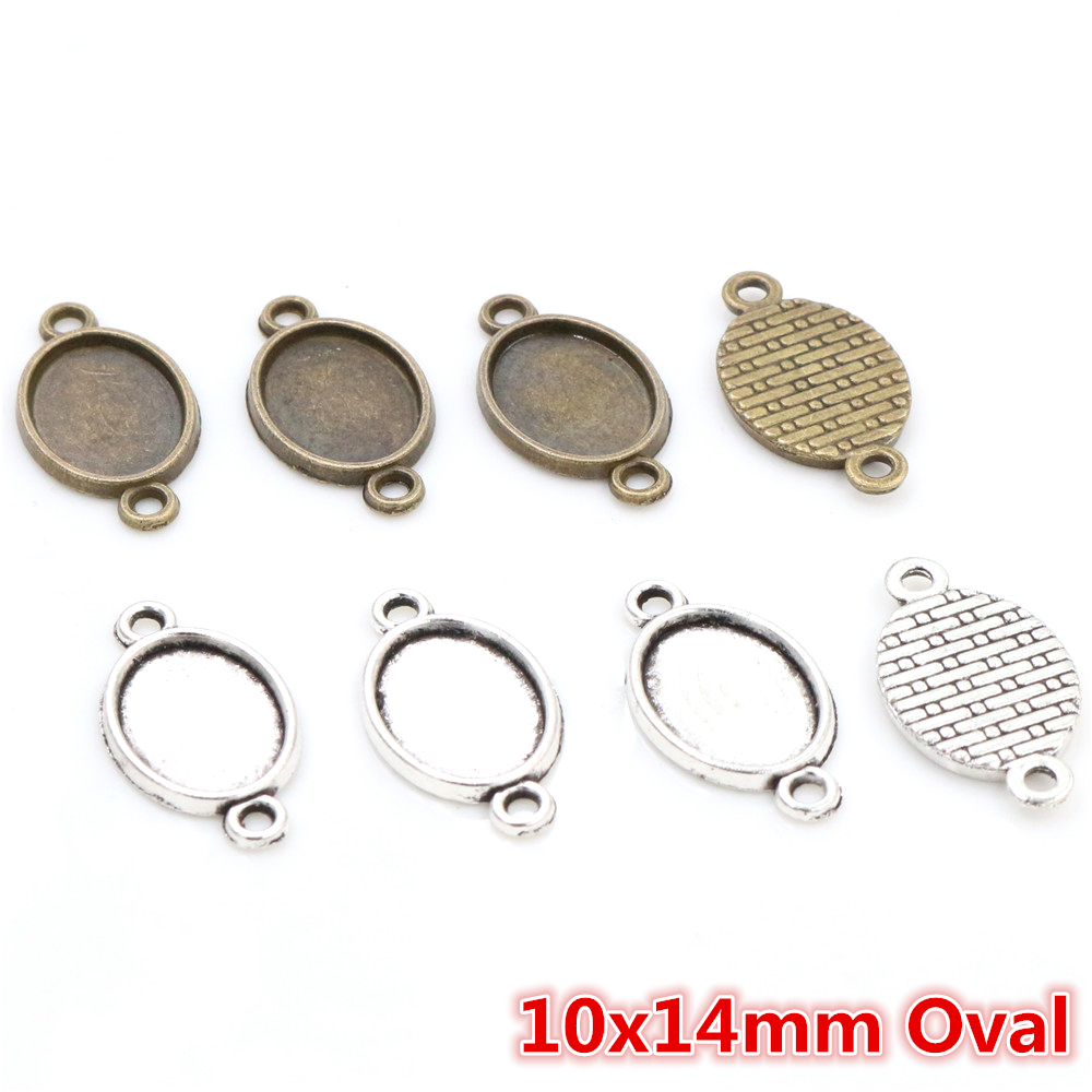 20pcs 10x14mm Inner Size Antique Silver Plated Bronze Two Loop Style Cameo Cabochon Base Setting Pendant Necklace Findings
