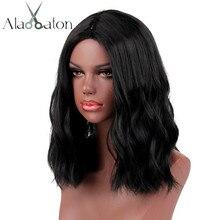 Alan eaton curto encaracolado bob perucas das mulheres perucas pretas feminino fibra sintética resistente ao calor africano americano perucas cosplay senhora