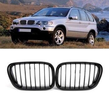 Negro brillante frente capucha riñón centro de la parrilla para BMW X5 serie E53 1999-2003, 51138250052 de 51138250051
