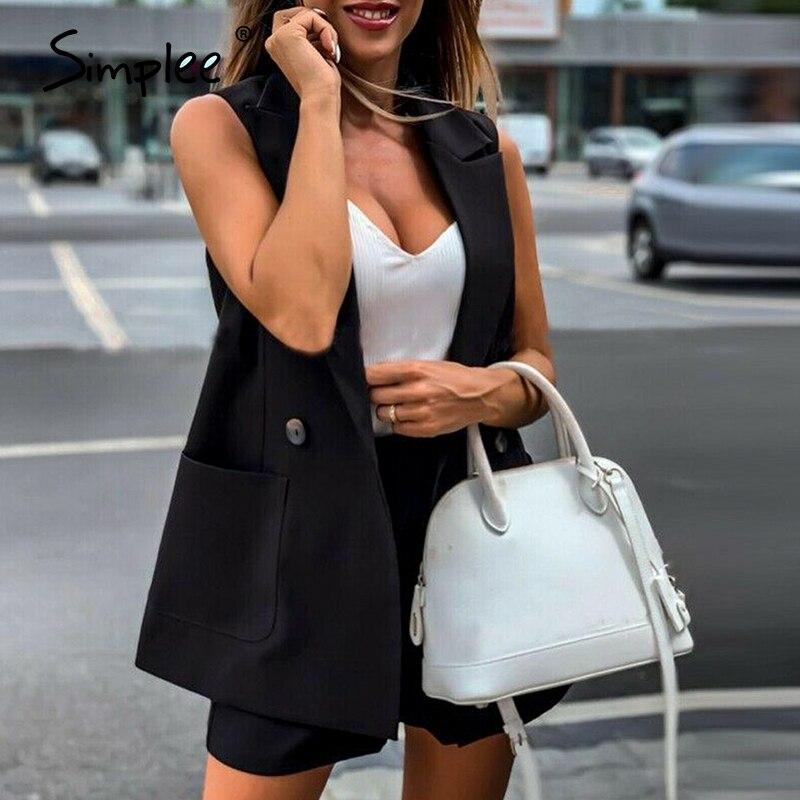 Simplee Two-pieces Blazer Suits Women Sets Streetwear Shorts Vest Suit Sets Female Casual Office Ladies Short Pant Blazer Suits