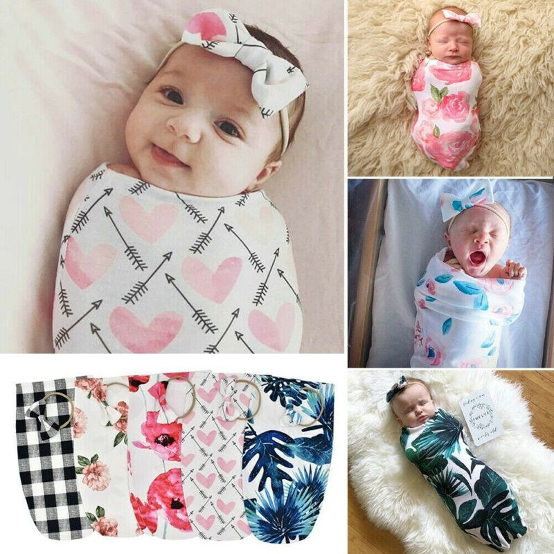Soft Cotton Baby Swaddle Wrap Sleeping Bags Cute Floral Plaid Baby Infant Bedding Wrap Sleeping Swaddle Muslin Wrap+Hat 2pcs