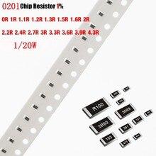 200 Chip resistor SMD 0201 1% 0R Pçs/lote 1R 1.1R 1.2R 1.3R 1.5R 1.6R 2R 2.2R 2.4R 2.7R 3R 3.3R 3.6R 3.9R 4.3R Ohm 1/20W