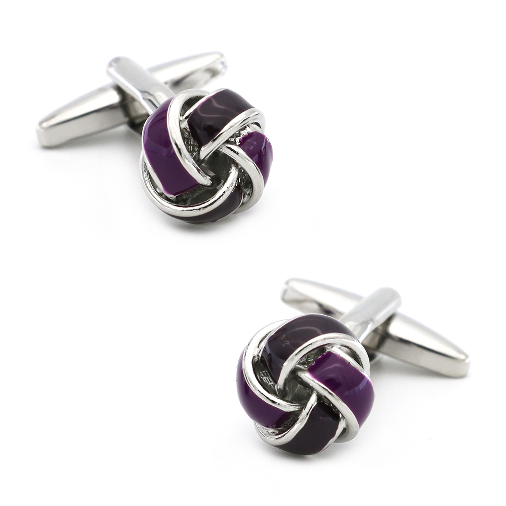 Knot Cuff Links For Men Ball Design Quality Brass Material Purple Color Cufflinks Wholesale&retail