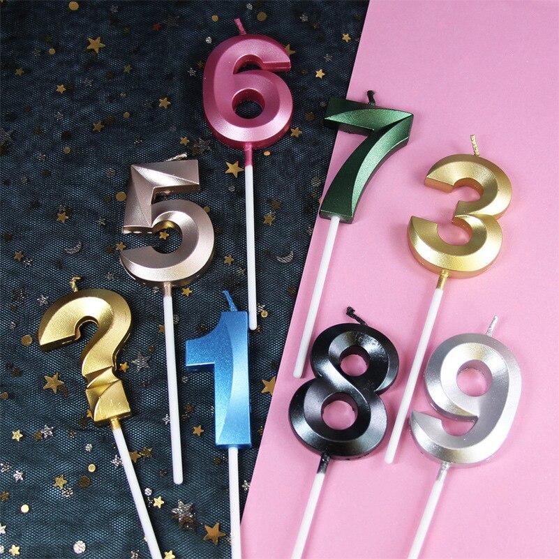 Украшение для дня рождения, блестящее украшение с золотыми цифрами, 1 шт., Золотая свеча с цифрами 0-9