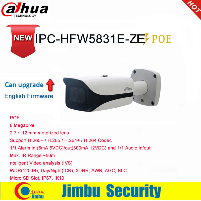 Dahua IP Camera POE 8MP  IPC-HFW5831E-ZE 2.7 ~ 12 Mm Motorized Lens IR50M  1/1 Alarm Micro SD Slot Up To 128G  IP67, IK10 IVS