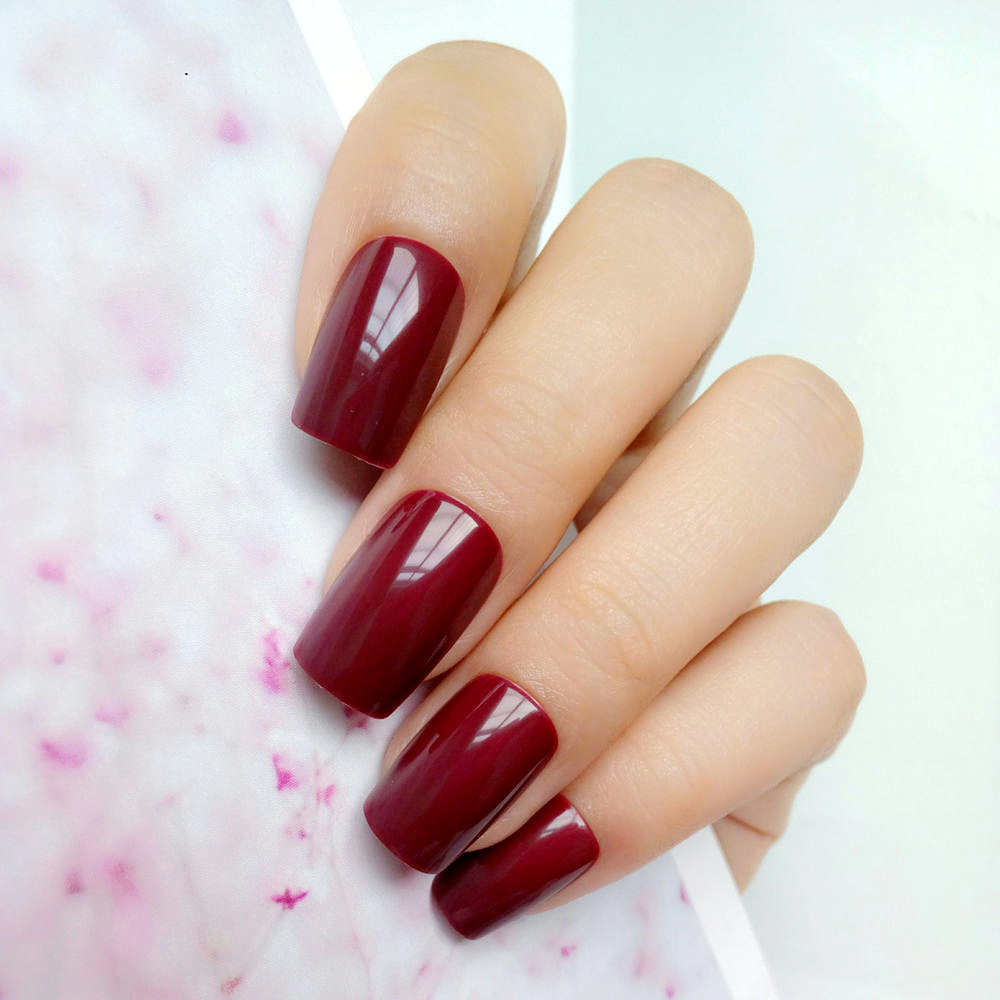 24pcs Glossy Red Brown Fake Nails For Design Artificial Lady False Fingernail DIY Salon Tips On Tree Manicure Tools P83L
