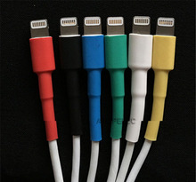 Термоусадочная трубка 2:1 для iPad iPhone 5 6 7 8, USB-кабель для передачи данных и зарядки, черный/красный/желтый/зеленый/синий/белый/прозрачный
