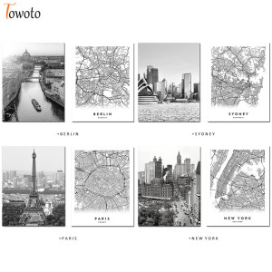 Modern Canvas Print Poster New York Berlin Sydney Paris City Map Black and White Wall Art Painting Wall Pictures for Living Room
