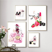 Phone Girl High Heels Lipstick Strawberry Wall Art Canvas Painting Nordic Posters And Prints Wall Pictures For Living Room Decor цена