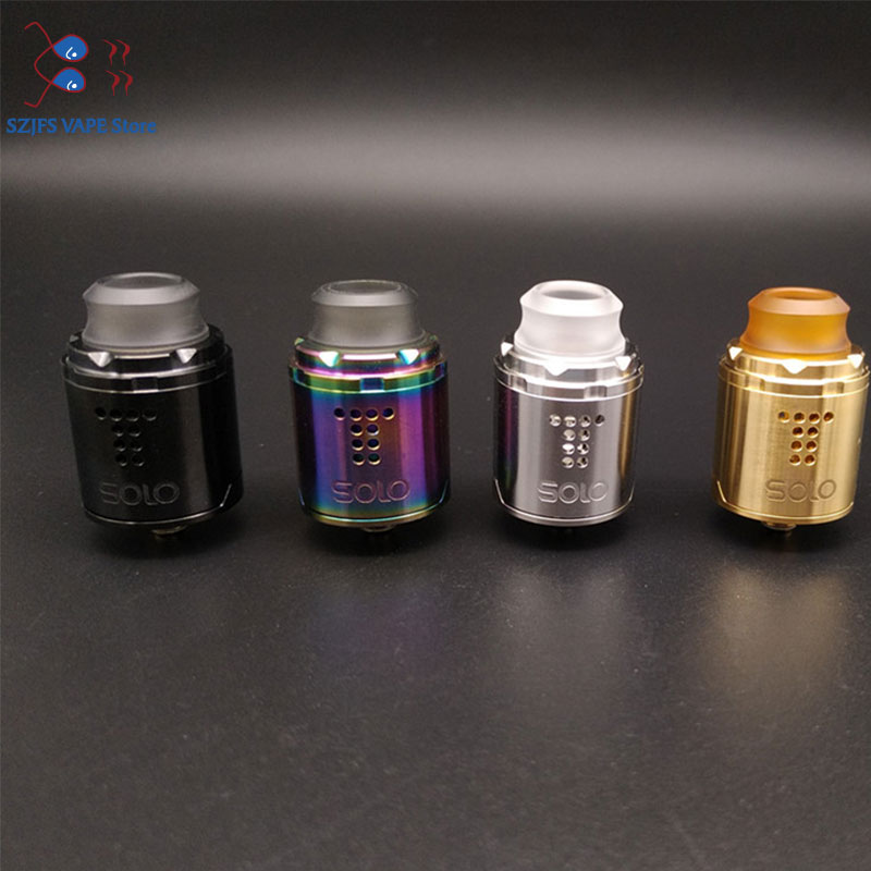 Drop Solo RDA Single Coil 22mm Drop Rda With Two Caps Standard 510 And BF Squonk 510 Pin Deep Base Vs Passage THC Tauren Solo