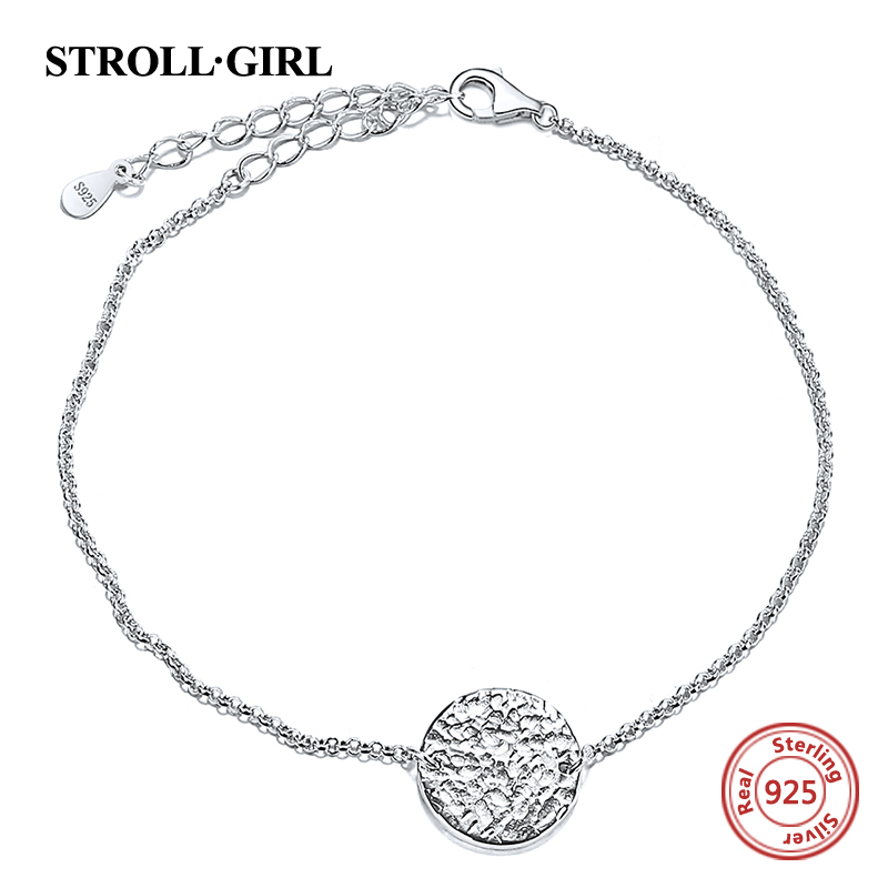 Strollgirl 925 Sterling Silver Personalized Custom Circle Handmake Bangle Beaded Chain Engraved Name Bracelet For Women Jewelry