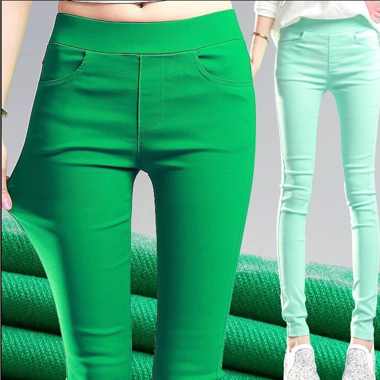 Candy Color Womens Stretch Leggings Pants Women High Waist Skinny Leggins Mujer Femme Black Green Pink White Grey Purple Legging