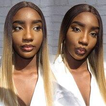 """קסם צבע Ombre ישר שיער 18 """"אינץ תחרה מול לנשים שחורות אפריקאי אמריקאי פאות סינטטי חום עמיד שיער"""