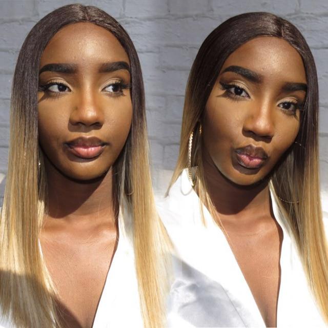 Peluca con malla frontal para mujeres negras cabello liso degradado de Color mágico de 18 pulgadas, pelucas africanas y americanas, pelo sintético resistente al calor