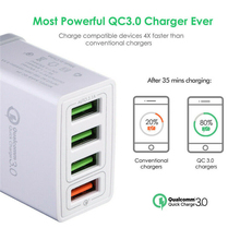 QC 3.0 4 USB Ports For Smart Mobile Cell Phone Charger AC Power Travel Home Wall Adapter US EU Plug
