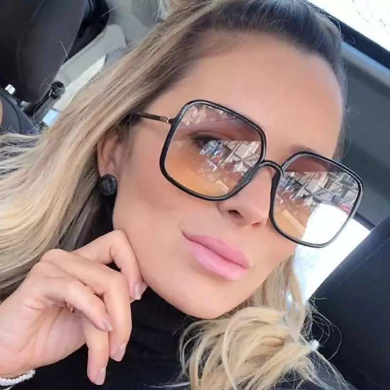 2019 Oversized Metal edge Sunglasses Fashion Women Vintage Brand Designer Uv400 Square Sun Glasses Gafas De Sol Hombre