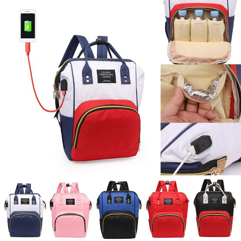 USB Port Maternity Diaper Bags Women Backpack Large Capacity Mummy Nappy Bag Baby Nursing Care Multicolor Mother Travel Handbag
