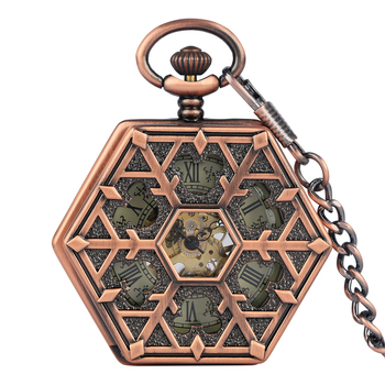 Bronze Hand Wind Mechanical Pocket Watch Skeleton Hexagon Hollow Mickey Mouse Watch Fob Chain Antique Clock Men Gift Reloj fashion mechanical pocket watch horse copper antique classic bronze man fob watches father gift hour chain hour good quality new