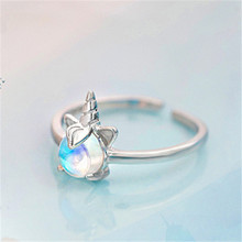 Open the index finger ring silver can be adjusted Moonstone personality Students present Womens fashion jewelry