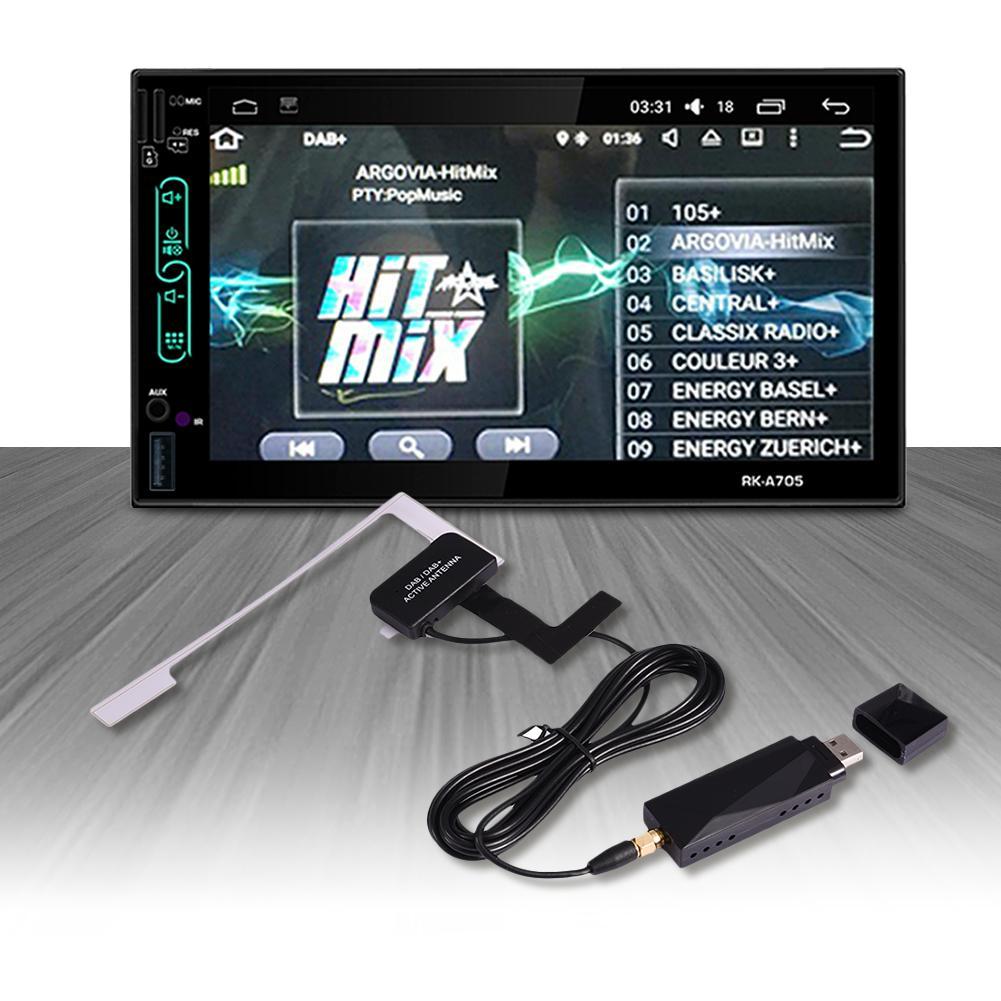 Универсальный DAB + удлинительная антенна USB портативный адаптер приемник для Android 4,4 5,1 6,0 7,1 Автомобильный плеер для Европы Австралия
