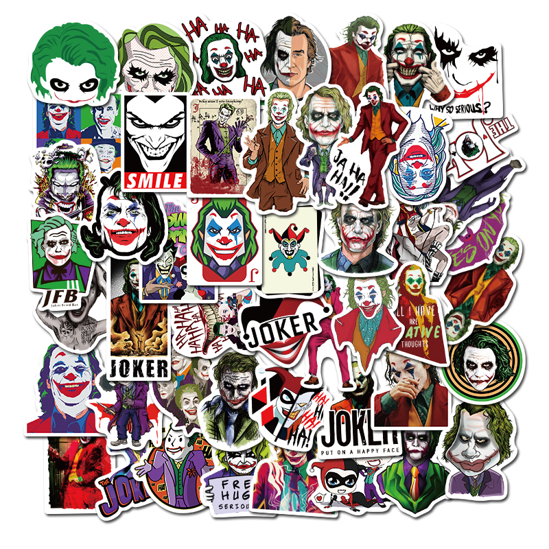 50PCS The Joker Anime Stickers Cartoon Clown Style For Case Laptop Luggage Skateboard Motorcycle Decal Children Toy Sticker