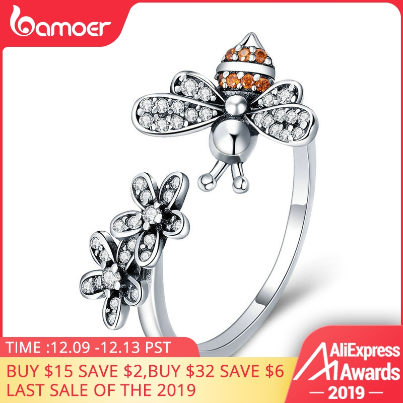 BAMOER 100% 925 Sterling Silver Trendy Bee & Daisy Flower Finger Rings For Women Adjustable Size Valentine Gift Jewelry SCR422