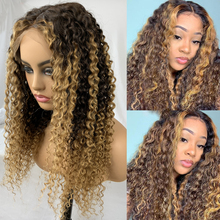 Wig Human-Hair Blonde Lace Bleached Brown Curly Highlight T-Part Knots Deep-Wave