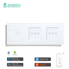 Bseed Smart Double Curtain Switch With 1 Gang 2 Gang Touch Switch And DIY Wifi Control Switch Work With Tuya Smart Life App