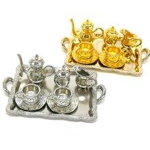 10 шт./компл. кукольный дом Миниатюрный металлическая чайная кукла дом Мебель Миниатюрные столовая посуда игрушка Чай горшок чашка пластины