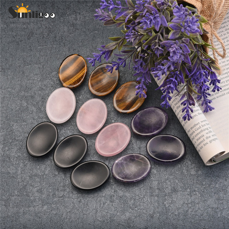 Sunligoo pedras preciosas, pedras preciosas para palma de bolso, pedras naturais de cristal de cura, terapia geométrica