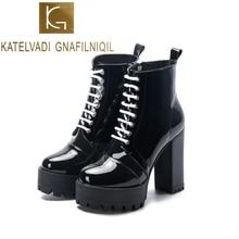 KATELVADI  Fashion Black Boots Women Autumn Lace-up Soft Patent PU Platform Shoes Woman Party Ankle 11CM High Heels K-503
