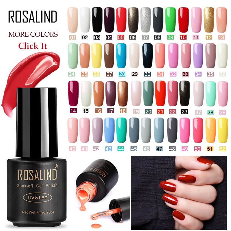 ROSALIND Gel Nail Polish 7ML Semi Permanant UV Hybrid Primer Need Lamp Base Top Coat For Nail Art Design Gel Lacquer Varnishes
