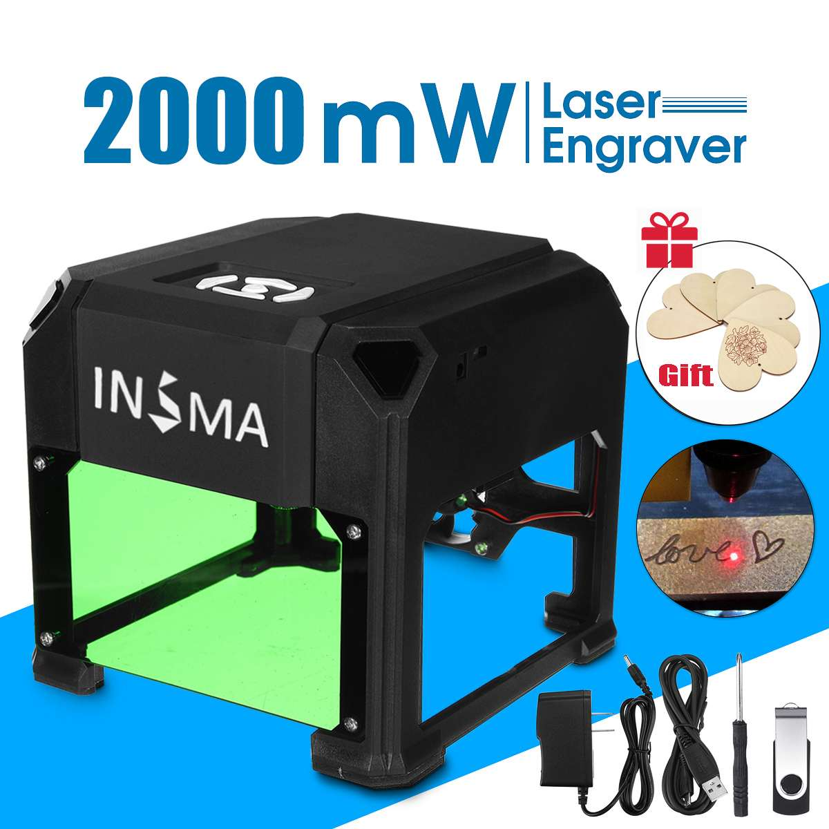 2000mW/3000mW Desktop Laser Engraving Machine USB DIY Logo CNC Printer Laser Engraver With Heart Wooden Board