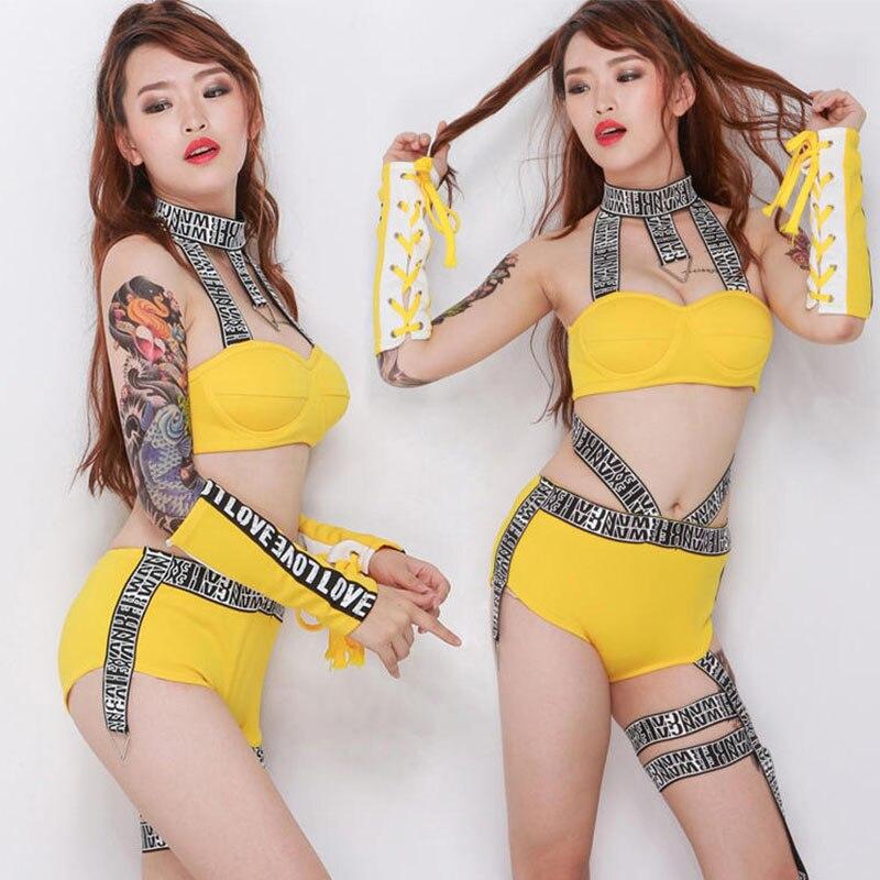 Yellow Jazz Dance Costumes For Women Nightclub Bikini Sexy Pole Dance Dj Rave Outfit Gogo Dancers Performance Clothing DC3713