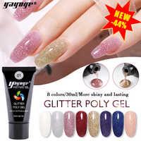 Yayoge полигель блеск полигель лак для наращивания ногтей 30 мл Белый прозрачный Сияющий лак для маникюра дизайн ногтей