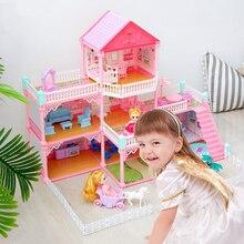 Princess Villa Doll House Furniture Set Girls Miniature Vintage Mirror Plant Doll House Luxury Domek Dla Lalek Kids Toys DG50DH