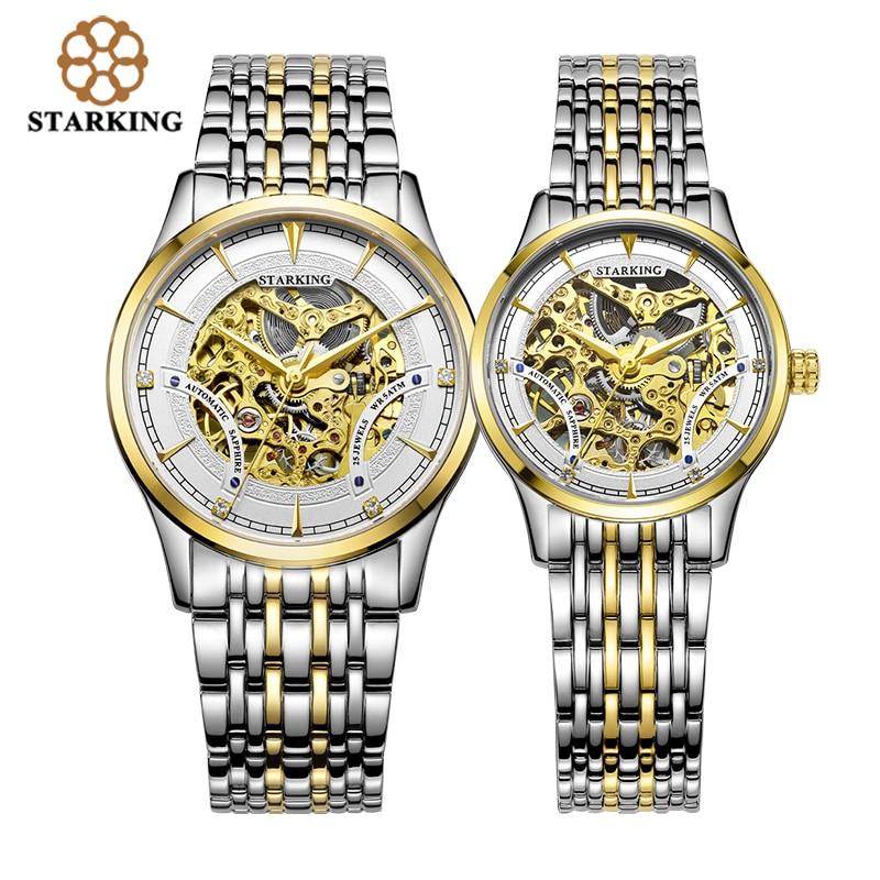 Старкинг влюбленных часы Роскошный Золотой Скелет автоматические унисекс для женщин и мужчин Пара часы из нержавеющей стали наручные часы