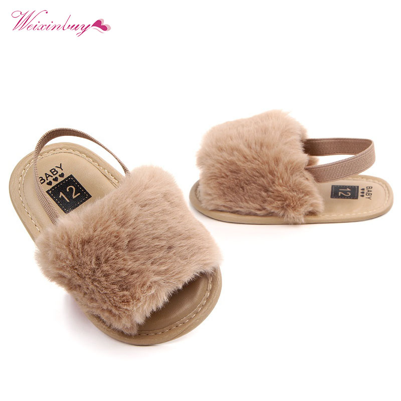 Fashion Faux Fur Baby Shoes Summer Cute Infant Baby Boys Girls Soft Sole Indoor Shoes