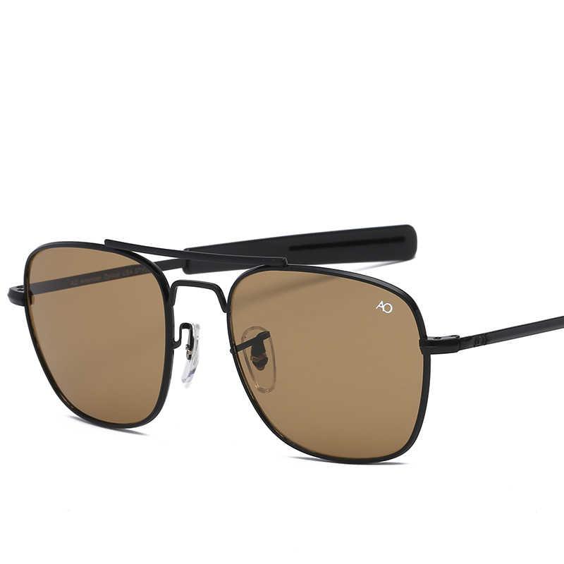 ファッション航空 AO サングラス男性高級ブランドのデザイナー太陽男性アメリカ軍軍用光学ガラスレンズ Oculos