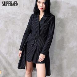 SuperAen/модные женские комплекты, осень, новинка 2019, костюм в полоску, куртка, Женская Повседневная Асимметричная юбка, комплект из двух