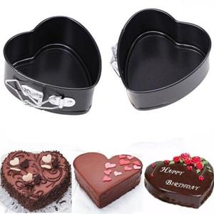 Image 5 - Non Stick Love Heart Shape Cake Pan Metal DIY Cake Mold Baking Cheese Bread Tray (Random Bottom)