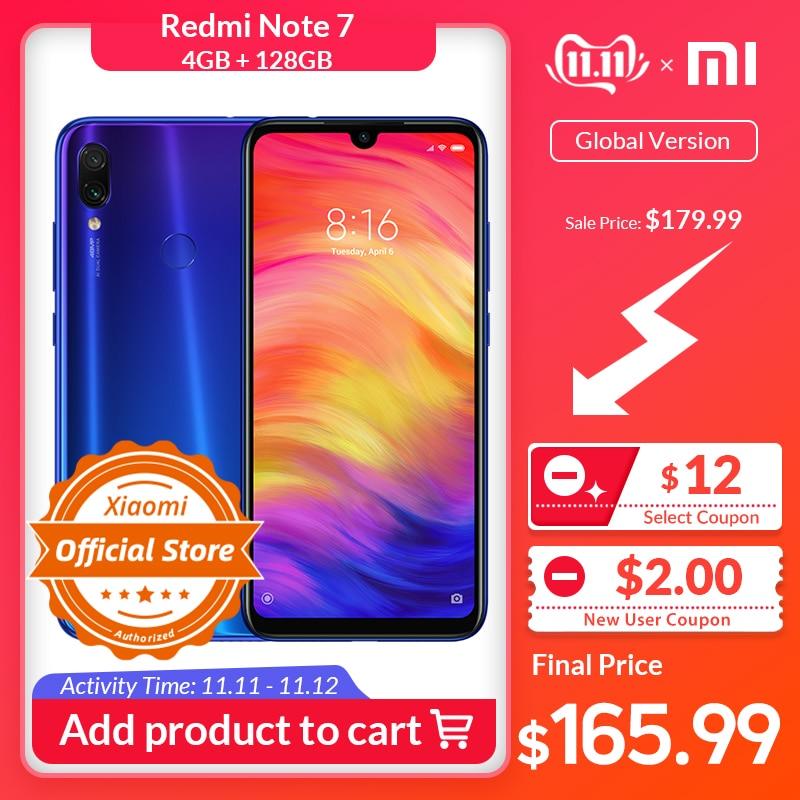 Global Version Xiaomi Redmi Note 7 4GB 128GB Note7 Snapdragon 660 48MP Dual Camera 6.3'' Full Screen Mobile Phone 4000mAh CE FCC